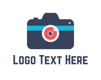 Cam - Red & Blue Camera logo design