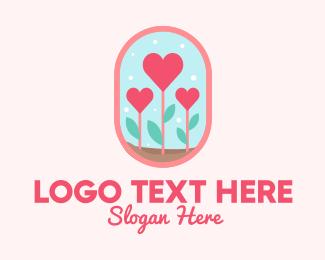 Roses - Heart Flowers Badge logo design