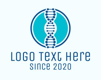 DNA Lab - Blue DNA String logo design