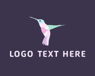 Blue And Pink - Pink Hummingbird logo design