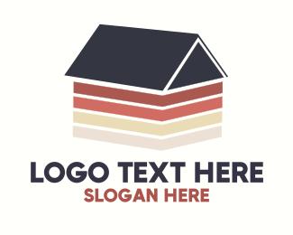 House Paint - Minimalist Wooden House  logo design