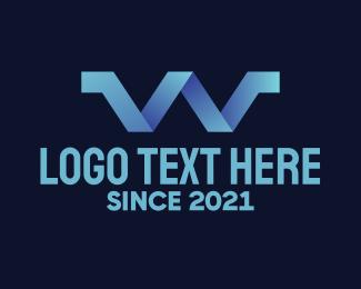 Aqueduct - Blue Gradient Letter W logo design
