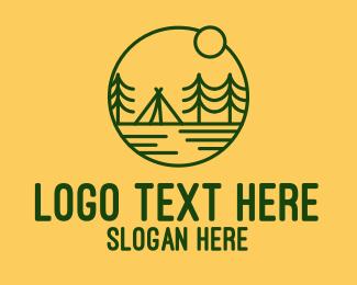 Camp - Sunset Green Camp logo design