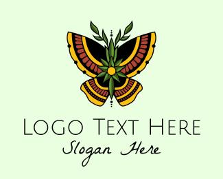 Moth - Ethnic Butterfly logo design