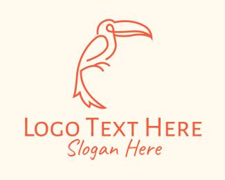 Rainforest - Orange Toucan Bird logo design