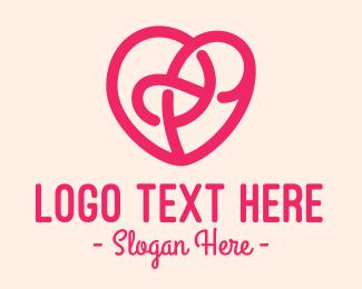 Scribble - Pink Abstract Scribble Heart logo design