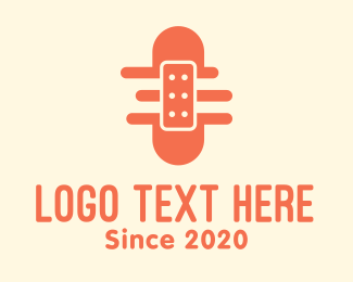 First Aid Kit - Orange Adhesive Bandage logo design