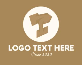 Millwork - Wooden Brown Letter T logo design