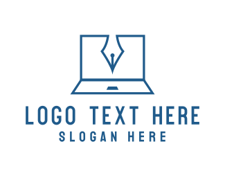 Writing - Blogger Laptop logo design