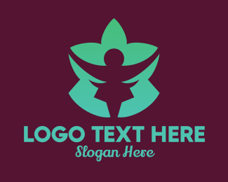 Pilates - Green Lotus Flower Person logo design