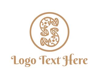 Boho - Floral Letter S logo design