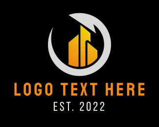 Yellow City - Yellow & Blue Building Circle logo design