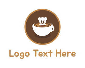 Brown Bear - Bear Coffee Cup logo design