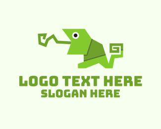 Frog - Origami Chameleon logo design
