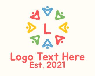 Crowdfund - Colorful Community Arrow Letter logo design