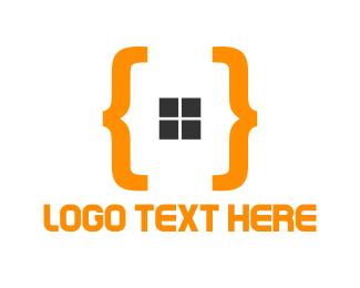 Brackets - Orange Code logo design