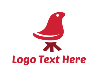 Chair - Red Abstract Bird Chair logo design
