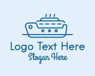 Cruise Ship - Ocean Cruise Ship Ferry logo design