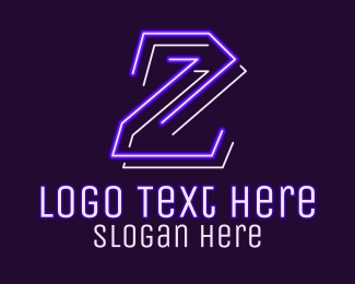 2 - Neon Retro Gaming Number 2 logo design