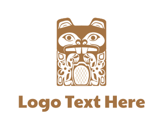 Beach - Tiki Beaver Totem logo design
