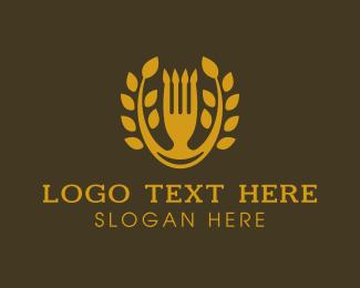 Gold Food Restaurant Logo