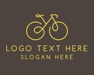 Cardio - Yellow Bicycle Monoline logo design