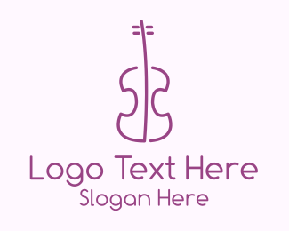 Violin Teacher - Minimalist Purple Violin logo design