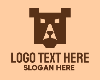 Grizzly - Brown Square Bear logo design