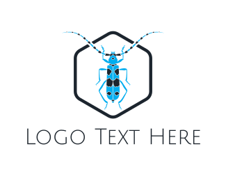 Pest Control - Blue Long Beetle logo design