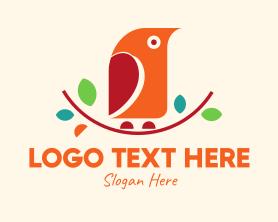 Little - Colorful Tree Branch Bird logo design