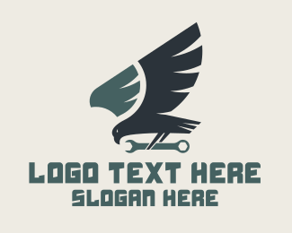 Eagle - Blue Hawk Wrench logo design