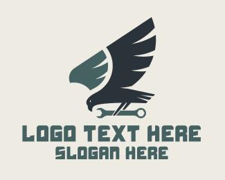 Carpentry - Blue Hawk Wrench logo design