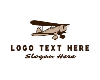 Crop Duster - Vintage Plane logo design