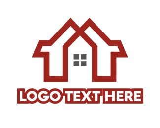 Red House - Red Duplex House logo design
