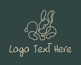 Easter Bunny - Tiny Bunny Monoline logo design
