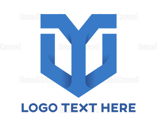 Cryptic - Blue Y Shield  logo design