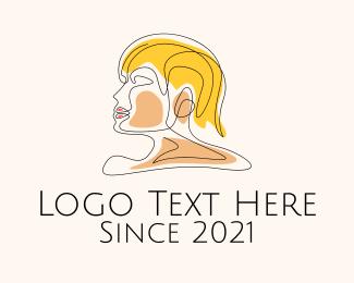 Blonde - Monoline Hairstylist logo design