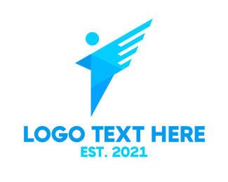 Unemployment - Blue Abstract Person  logo design
