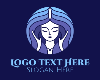 Hair Dye - Blue Hair Woman  logo design
