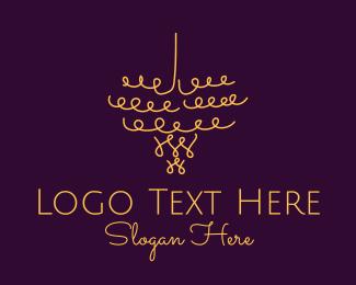 Interior - Gold Chandelier Light logo design