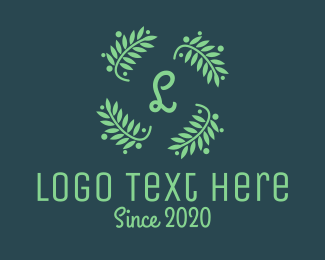 Cannes - Green Laurel Lettermark Wreath logo design