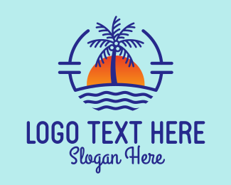 Surfing - Coconut Tree Beach  logo design