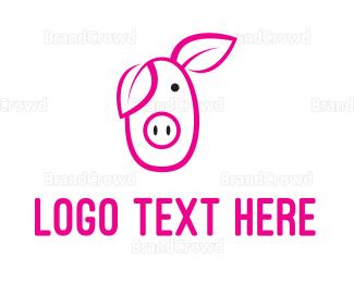 Farm To Table - Pig Cartoon Outline  logo design