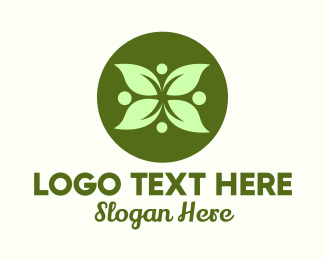 Massage Therapy - Green Leaf Flower logo design