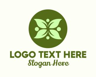 Hospitality - Green Leaf Flower logo design