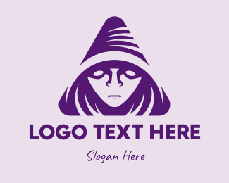 Sorcerer - Violet Triangular Wizard logo design