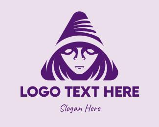 Mysterious - Violet Triangular Wizard logo design