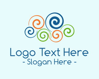 Seashell - Colorful Swirl Cloud logo design