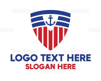 Armor - Stripe Anchor Shield logo design