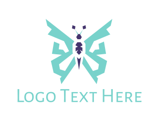 Blue Insect - Blue Butterfly logo design